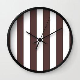 Dark Brown Granite and White Wide Vertical Cabana Tent Stripe Wall Clock
