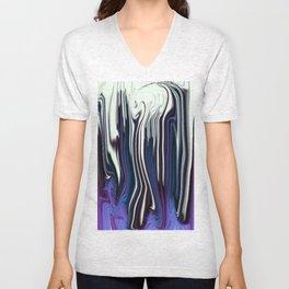 bluish purple and white line drip swirl Unisex V-Neck