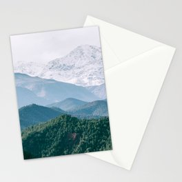 AERIAL PHOTOGRAPHY OF MOUNTAIN AND TREE Stationery Cards