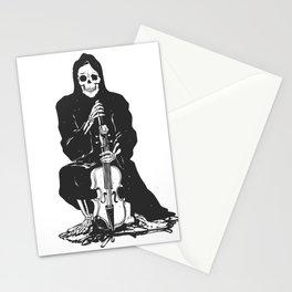 Violinist skull - grim reaper - cartoon skeleton - halloween illustration Stationery Cards