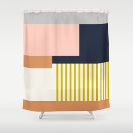 Sol Abstract Geometric Print in Multi Shower Curtain