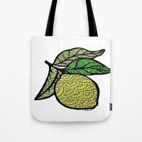 lemon Tote Bags featuring Lemon  by Kris LeGates