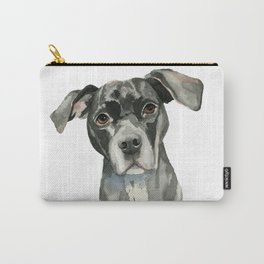 Black Pit Bull Dog Watercolor Portrait Carry-All Pouch
