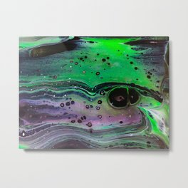 Abstract Green and Purple Metal Print