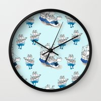 ships Wall Clocks featuring Ships Pattern by Brooke Weeber