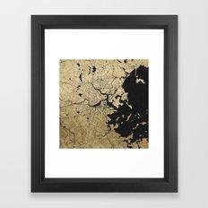 Boston Black and Gold Map Framed Art Print
