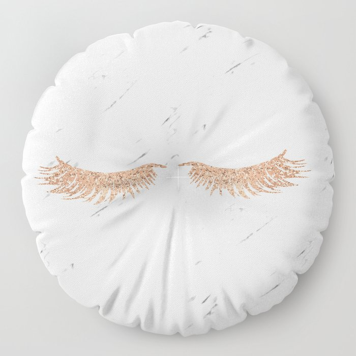 Rose gold marble lash envy Floor Pillow
