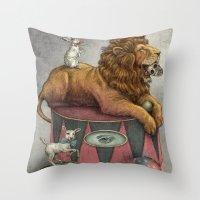 leon Throw Pillows featuring El Leon by julian de narvaez