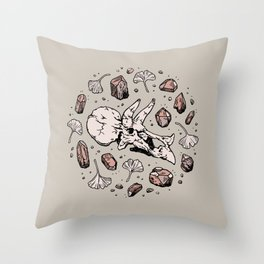 Triceratops Rocks! | Rose Quartz | Dinosaur Skull Fossil Art Throw Pillow