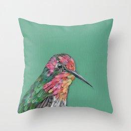 Anna's Hummingbird Portrait Throw Pillow