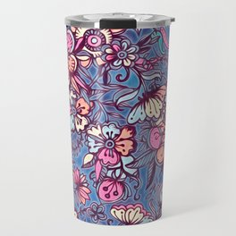 Sweet Spring Floral - soft indigo & candy pastels Travel Mug