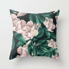 Blooming pink large flowers Throw Pillow