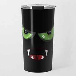 Evil face with green eyes Travel Mug