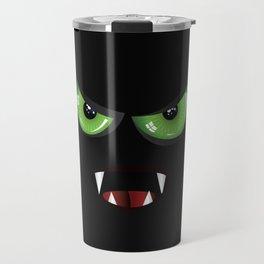 Evil face with green eyes Travel Mug