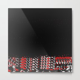 Undressing in Woven Red and Black Metal Print