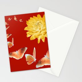YELLOWISH BROWN DAHLIA FLOWER &  ORANGE BUTTERFLIES ALLURE Stationery Cards