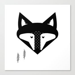 Scandinavian Fox Black And White Canvas Print