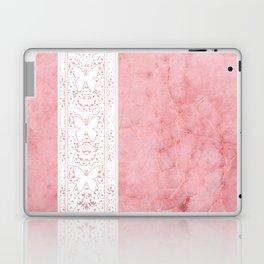 Delicate White Stripe Butterfly Pattern Pink Texure Design Laptop & iPad Skin