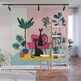 Sleek Black Cats Rule In This Urban Jungle Wall Mural