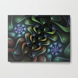 Swirling Around, Abstract Fractal Art Metal Print