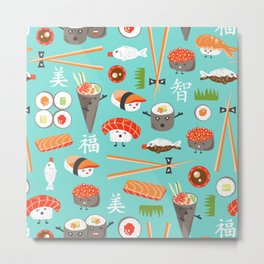 Happy Sushi Metal Print