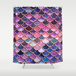 Pink & Purple Trendy Glitter Mermaid Scales Shower Curtain