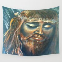 christ Wall Tapestries featuring Christ by osile ignacio