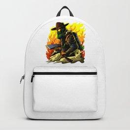 Firefighter Illustration | Fire Brigade Hero Flame Backpack