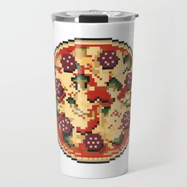 Pizza pixel art on white background. Travel Mug