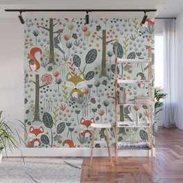 Rustic  Woodland Animals Wall Mural
