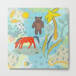 Cute Red Unicorn and Bear Metal Print