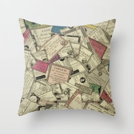 Antique Engraving of French Currency Throw Pillow