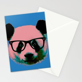 Panda with Nerd Glasses in Blue Stationery Cards