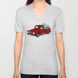 Old Red Christmas Truck In Snow Unisex V-Neck