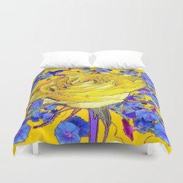 GOLDEN YELLOW ART & YELLOW ROSE BLUE MORNING GLORY FLOWERS Duvet Cover