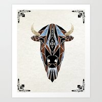 bison Art Prints featuring bison by Manoou