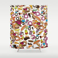 junk food Shower Curtains featuring Cartoon Junk food pattern. by Nick's Emporium Gallery