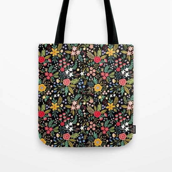 Amazing floral pattern with bright colorful flowers, plants, branches and berries on a black backgro by ann_and_pen
