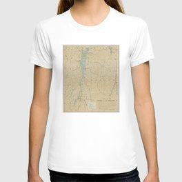 Vintage Lake Champlain Lighthouse Map (1896) T-shirt