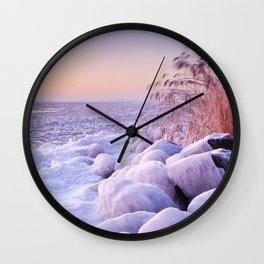 Frozen lake Markermeer, The Netherlands at sunrise Wall Clock
