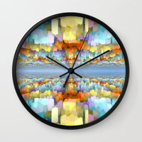 sci fi Wall Clocks featuring Sci Fi Horizons by Phil Perkins