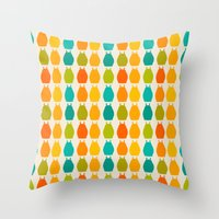 calcifer Throw Pillows featuring my neighbor pattern by ururuty