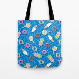 Sweet Treats Pool Floats Pattern – Blue Tote Bag