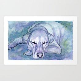 Sleepy Pup Art Print