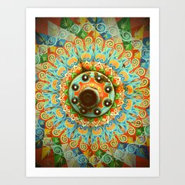 Rainbow Painted Cart Wheel Mandala Art Print