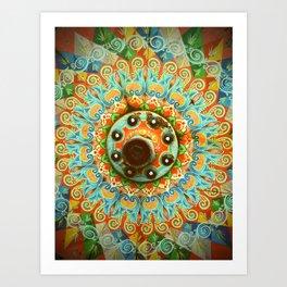 Rainbow Painted Cart Wheel Mandala Art Print