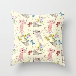 Cute Cat catching butterflies with flowers pattern Throw Pillow