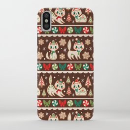 Striped Gingerbread Kitties (Brown) iPhone Case