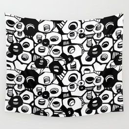 the nuts and bolts of it, graphic, minimal, industrial, monochrome Wall Tapestry