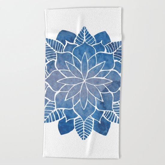 Blue Marine Mandala Beach Towel